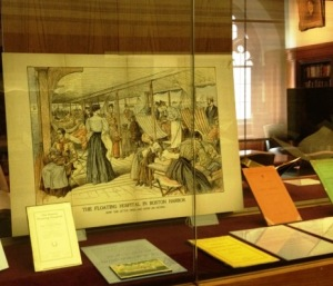 Hospital documents on display as part of the Burns Library's Common Boston exhibit.