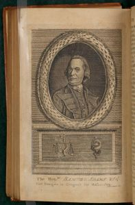 Portrait of Samuel Adams, from v. 1 of  <i> An Impartial History of the War in America </i>.