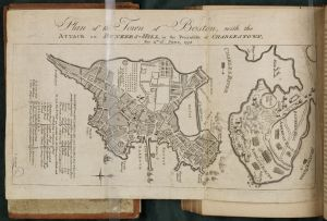 """Plan of the town of Boston, with the attack on Bunkers-Hill in the peninfula of Charlestown, the 17th of June, 1775"", from v.1 of <i> An Impartial History of the War in America </i>."