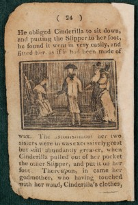 This engraving from the Burns Library's 1814 chapbook version of Cinderella depicts another important scene from the story - Cinderella tries on the glass slipper at the request of the Prince.