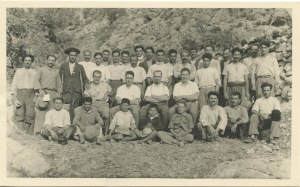 A photograph postcard with some of the expedition team, dated1937. William James McGarry, SJ, President's Office Records, BC.2004.007, John J. Burns Library, Boston College.