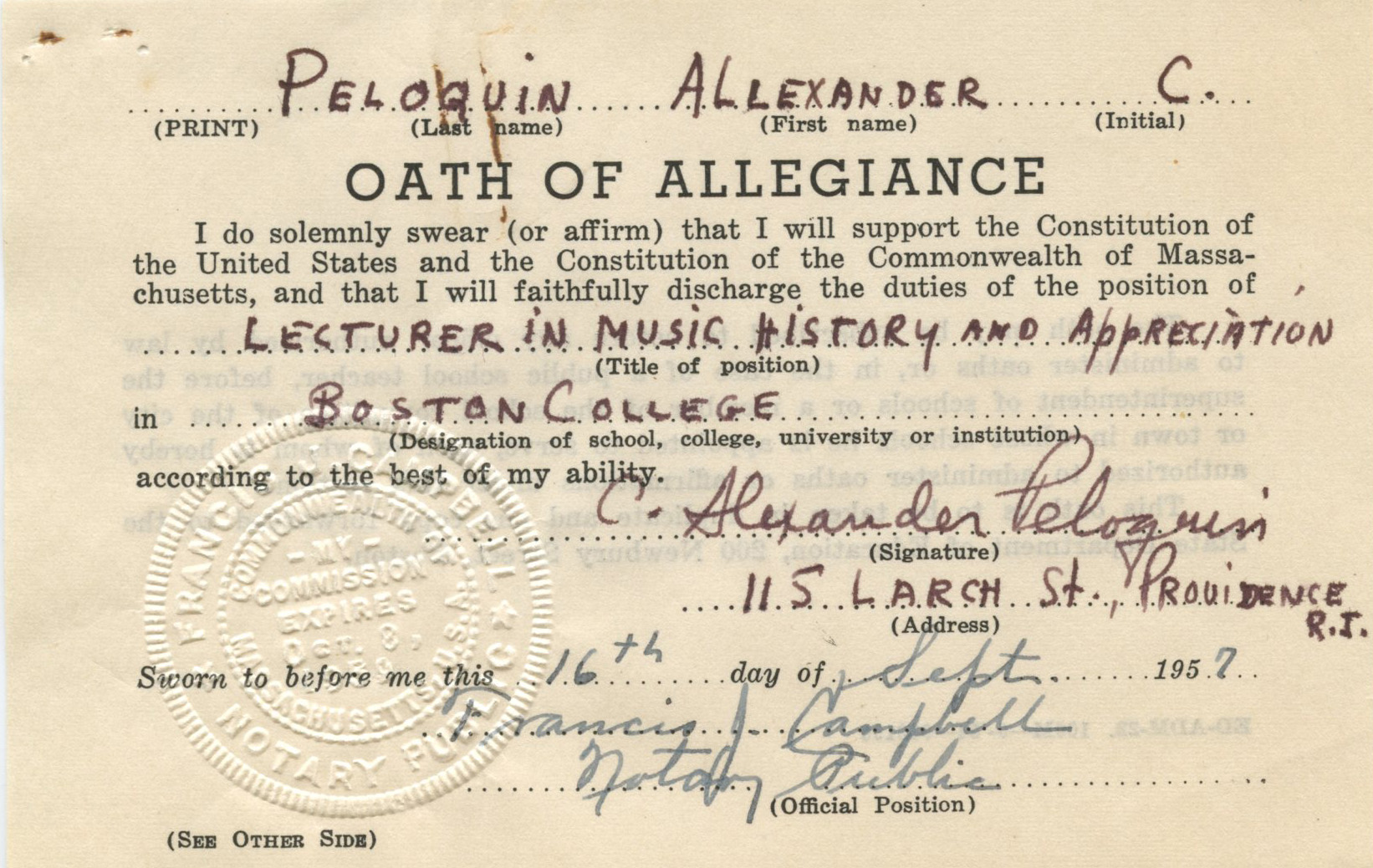 Composer and Boston College lecturer Alexander C. Peloquin's oath of  allegiance, Box 13,