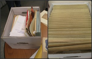 On the left, an example of a box from an unprocessed collection.  On the right, an example of a box in a fully processed collection.