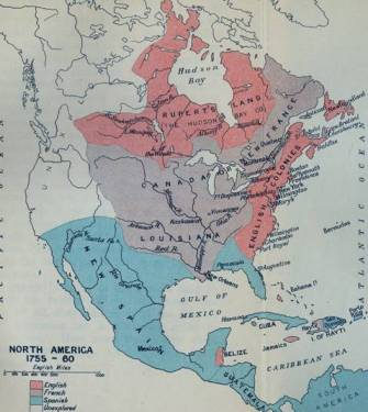 "This map, from the <a href = ""http://faculty.marianopolis.edu/c.belanger/QuebecHistory/encyclopedia/SevenYearsWar-FrenchandIndianWar-TheWaroftheConquest.htm""> Quebec History Encyclopedia </a>  shows the respective geographical positions of the  European powers in North America between 1755 and 1760, as the Seven Years' War is taking place."