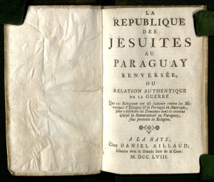"""An authentic account of the war that the religious have waged against the monarchs of Spain and Portugal."" Published under the authority of Melo."