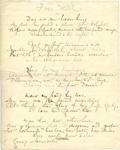 "Manuscript of Alice Meynell's poem ""Free Will"""