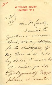 Letter from Wilfrid Meynell to Father Terence Connolly, July 17, 1931.