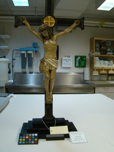 Repaired crucifix from the Burns Library's Liturgy and Life Collection.
