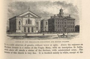 """""""Church of the Immaculate Conception and Boston College,""""  from <i>Boston Illustrated</i>, F 73.5 .S70, 1872, Boston Collection, John J. Burns Library.  This illustration shows the original buildings of Boston College, located in Boston's South End."""