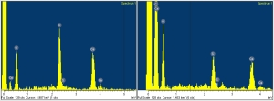 Spectrums from the electron microscope taken by Dr. McMahon reveal the chemical compositions of the sample taken from the crucifix.The spectrum on the left shows a significant peak from carbon (C), whereas the spectrum on the right reveals that only calcium (Ca), sulfur (S), and oxygen (O) are found in the sample.
