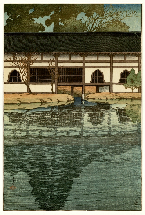 """Part of the Byôdô-in Temple at Uji"" by Hasui Kawase, Japanese Prints Collection, MS.2013.043, John J. Burns Library, Boston College."