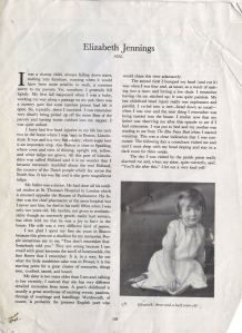 Article from <i> Contemporary Authors Autobiography Series</i>, n.d., Box 17, Folder 35, Elizabeth Jennings Papers, MS.2007.018, John J. Burns Library, Boston College.