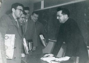 Father Sweeney with Boston College students, circa 1950's, Box 24, Folder 19, Francis W. Sweeney Papers, MS.2002.003, John J. Burns Library, Boston college.