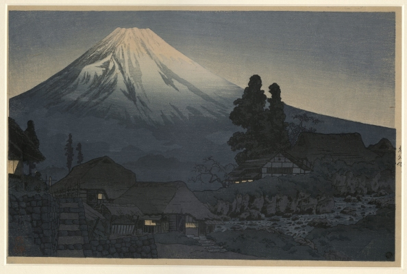 """Mount Fuji from Mizukubo"" by Takahashi Shotei, Japanese Prints Collection, MS.2013.043, John J. Burns Library, Boston College."