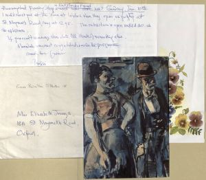 Letter and postcard from Priscilla Tolkein Cyen to Jennings, dated 1993, Box 16, Folders 19 and 20, Elizabeth Jennings Papers, MS.2007.018, John J. Burns Library, Boston College.