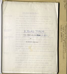 Title page of typescript for <i>A Brief Study of T.S. Eliot and his Life</i>, unpublished manuscript by Elizabeth Jennings, Box 16, Folder 5, Elizabeth Jennings Papers, MS.2007.018, John J. Burns Library, Boston College.