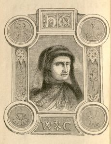 Portrait of William Caxton from the flyleaf of <i>William Caxton, the First English Printer</i> by Charles Knight.