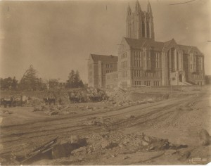 Clifton Church photograph of Devlin Hall under construction with horses and wagons, Box 3, Boston College Building and Campus Images, BC.1987.012, John J. Burns Library, Boston College.