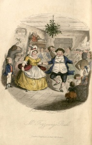 "A hand-colored engraving from <i>A Christmas Carol</i> entitled ""Mr. Fezziwig's Ball."""