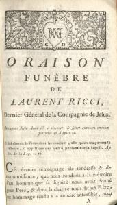 Oraison funèbre de Laurent Ricci: dernier général de la Compagnie de Jesus (1776)