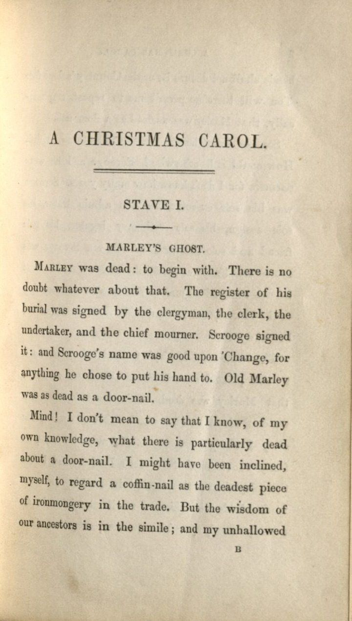 the first page of the text with the uncorrected stave i chapter - A Christmas Carol Full Text