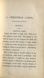 "The first page of the text with the uncorrected ""Stave  I"" chapter heading."