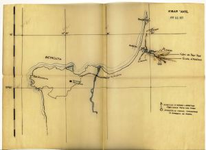 Map showing the location of Ksâr 'Akil, dated 1937.  Louis J. Gallagher, SJ, President's Office Records, BC.2004.020, John J. Burns Library, Boston College.