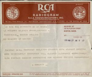 Telegram from Father Doherty to Father McGarry, dated August 27, 1938. William James McGarry, SJ, President's Office Records, BC.2004.007, John J. Burns Library, Boston College.