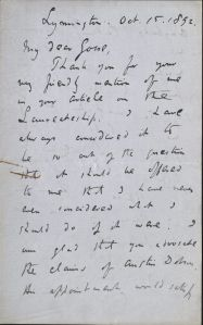 Letter from Coventry Patmore to Edmund Gosse, Box 2, Folder 40, Coventry Patmore Papers, MS.2006.020, John J. Burns Library, Boston College.