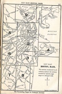 Map of Boston from the 30th edition of the <i>Rand McNally Boston Guide</i>, 08-000033866 Boston Collection, John J. Burns Library, Boston College.