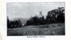 Photo and description of Boston College from the 30th edition of the Rand McNally Boston Guide, 08-000033866 Boston Collection, John J. Burns Library, Boston College.