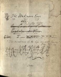 "Title page of a manuscript version of ""The Unknown Eros"", Box 2, Folder 4, Coventry Patmore Papers, MS.2006.062, John J. Burns Library, Boston College."