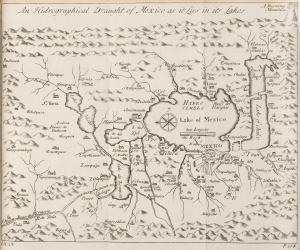 """""""An Hidrographical Draught of Mexico as it Lies in its Lakes"""" from v. 3 of <i>The General History of the Vast Continent and Islands of America</i> by Antonio de Herrera y Tordesillas, translated by John Stevens, London, 1725, Williams Collection, John J. Burns Library, Boston College. This map is part of the Fall 2014 """"Making History Public Exhibit"""" in Stokes Hall 3S."""