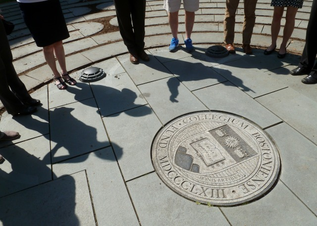 The Boston College Memorial Labyrinth, located on the Burns Library's lawn, is dedicated to the 22 Boston College alumni lost in the 9/11 tragedy. It is a copy of the 13th-century labyrinth laid in stone on the floor of the nave of Chartres Cathedral.