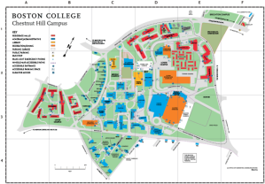 Map of Boston College's Chestnut Hill Campus