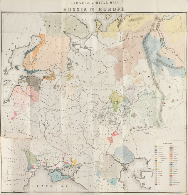 """Map titled """"An Ethnographical Map of Russia in Europe"""" by Robert G. Latham from <a href = """"http://bc-primo.hosted.exlibrisgroup.com/primo_library/libweb/action/dlSearch.do?institution=BCL&vid=bclib&onCampus=true&group=GUEST&loc=local,scope:(BCL)&query=any,contains,ALMA-BC21357854370001021"""" <i>The Native Races of the Russian Empire</i></a>, DK 33 .L35, General Collection, John J. Burns Library, Boston College. Robert Latham's text was published in 1854 and relies on his own study as well as the Petersburg map which was drawn in 1852."""