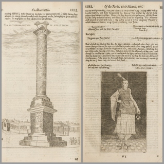 """On the left, """"Constantinople Pillar"""" and on the right, """"Man in Turkish Dress"""" from<i>A relation of a journey begun an: Dom: 1610</i> by George Sandys, 1627, 03-3544 General Collection, John J. Burns Library, Boston College."""