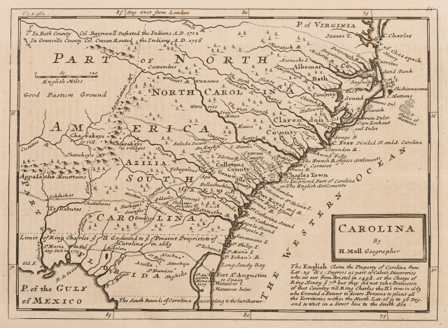 """""""Carolina"""" map from <a href = """"http://bc-primo.hosted.exlibrisgroup.com/primo_library/libweb/action/dlSearch.do?institution=BCL&vid=bclib&onCampus=true&group=GUEST&loc=local,scope:(BCL)&query=any,contains,ALMA-BC21328328270001021""""><i>Modern History, or the Present State of All Nations</i></a>, by Thomas Salmon, G 114 .S17, John J. Burns Library, Boston College."""