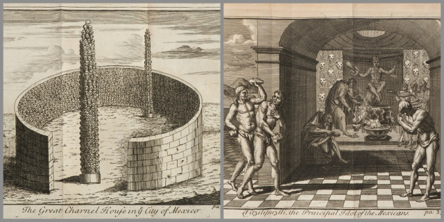 "On the left ""The Great Charnel House in ye City of Mexico"" and on the right ""Vitzilipuztli, the Principal Idol of the Mexicans"" from <a href=""http://bc-primo.hosted.exlibrisgroup.com/primo_library/libweb/action/dlSearch.do?institution=BCL&vid=bclib&onCampus=true&group=GUEST&loc=local,scope:(BCL)&query=any,contains,ALMA-BC21315614140001021""><i>The General History of the Vast Continent and Islands of America</i></a> by Antonio de Herrara y Tordesillas, published in 1725, E 141.H59, Williams Collection, John J. Burns Library, Boston College."