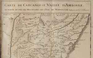 """""""Map of the Carcassonne Valley"""" from <a href=""""http://bc-primo.hosted.exlibrisgroup.com/primo_library/libweb/action/dlSearch.do?institution=BCL&amp;vid=bclib&amp;onCampus=true&amp;group=GUEST&amp;loc=local,scope:(BCL)&amp;query=any,contains,ALMA-BC21386337120001021""""> <i>Histoire de la Grande Isle Madagascar</i></a> by Étienne de Flacourt, DT 469 .M31 F5, Williams Collection, John J. Burns Library, Boston College."""
