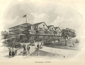 """Illustration of the Titchfield Hotel in Jamaica from  <a href=""""http://bc-primo.hosted.exlibrisgroup.com/primo_library/libweb/action/dlSearch.do?institution=BCL&amp;vid=bclib&amp;onCampus=true&amp;group=GUEST&amp;loc=local,scope:(BCL)&amp;query=any,contains,ALMA-BC21317741150001021""""><i>History and Guide to Barbados and the Caribbee Islands</i></a> by James H. Stark, F 2001 .S79, Williams Collection, John J. Burns Library, Boston College."""