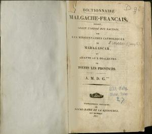 Dictionnaire Malgache-Français (1853)