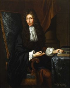 """This <a href=""""http://commons.wikimedia.org/wiki/File:The_Shannon_Portrait_of_the_Hon_Robert_Boyle.jpg"""">portrait</a> of Boyle by Johann Kerseboom is owned by the Chemical Heritage Foundation in Philadelphia, PA. Photo by Will Brown."""