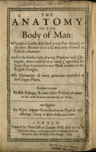 Title page to Nicholas Culpeper's translation of  Johann Vesling's Anatomy of the Body of Man.