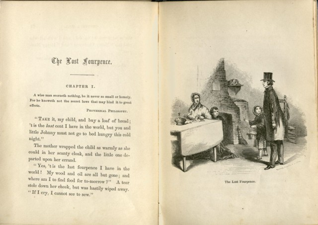 """Opening pages to """"The Lost Fourpence,"""" the first story in <a href=""""http://bc-primo.hosted.exlibrisgroup.com/primo_library/libweb/action/dlSearch.do?institution=BCL&amp;vid=bclib&amp;onCampus=true&amp;group=GUEST&amp;loc=local,scope:(BCL)&amp;query=any,contains,ALMA-BC21314401210001021""""><i>Christmas Holidays at Chestnut Hill</i></a> by Cousin Mary, John J. Burns Library, Boston College."""