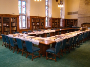 Jesuit books drying in the Trustees'/British Catholic Authors Room at the Burns Library.