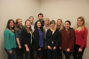 "Professor Virginia Reinburg and her Fall 2012 ""Making History Public"" class. Christine Spindler is the last student on the right."