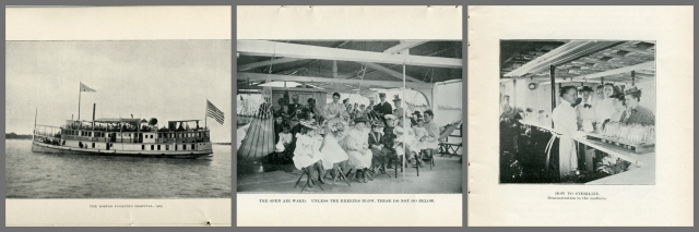 "From left to right, ""The Boston Floating Hospital, 1905"", """"The open air ward"", and ""How to sterilize, demonstration to the mothers"" from <a href=""http://bc-primo.hosted.exlibrisgroup.com/primo_library/libweb/action/dlSearch.do?institution=BCL&vid=bclib&onCampus=true&group=GUEST&loc=local,scope:(BCL)&query=any,contains,ALMA-BC21440182180001021""><i>The Boston Floating Hospital: Organized July 1, 1894</i></a> and <a href=""http://bc-primo.hosted.exlibrisgroup.com/primo_library/libweb/action/dlSearch.do?institution=BCL&vid=bclib&onCampus=true&group=GUEST&loc=local,scope:(BCL)&query=any,contains,ALMA-BC21440155250001021""><i>Twelfth Annual Report of the Boston Floating Hospital</i></a>, John J. Burns Library, Boston College."