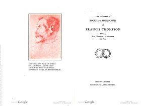 The title pages from The catalog, An Account of Books and Manuscripts of Francis Thompson
