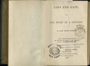 Title page of Loss and Gain, stamped with the logos of Boston College, Boston College Highscool, and Immaculate Conception Boston